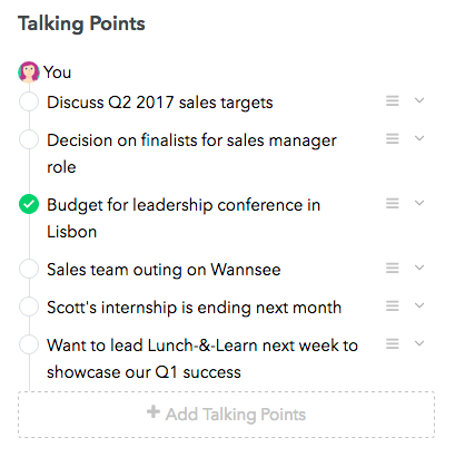 1:1 Meeting Talking Points