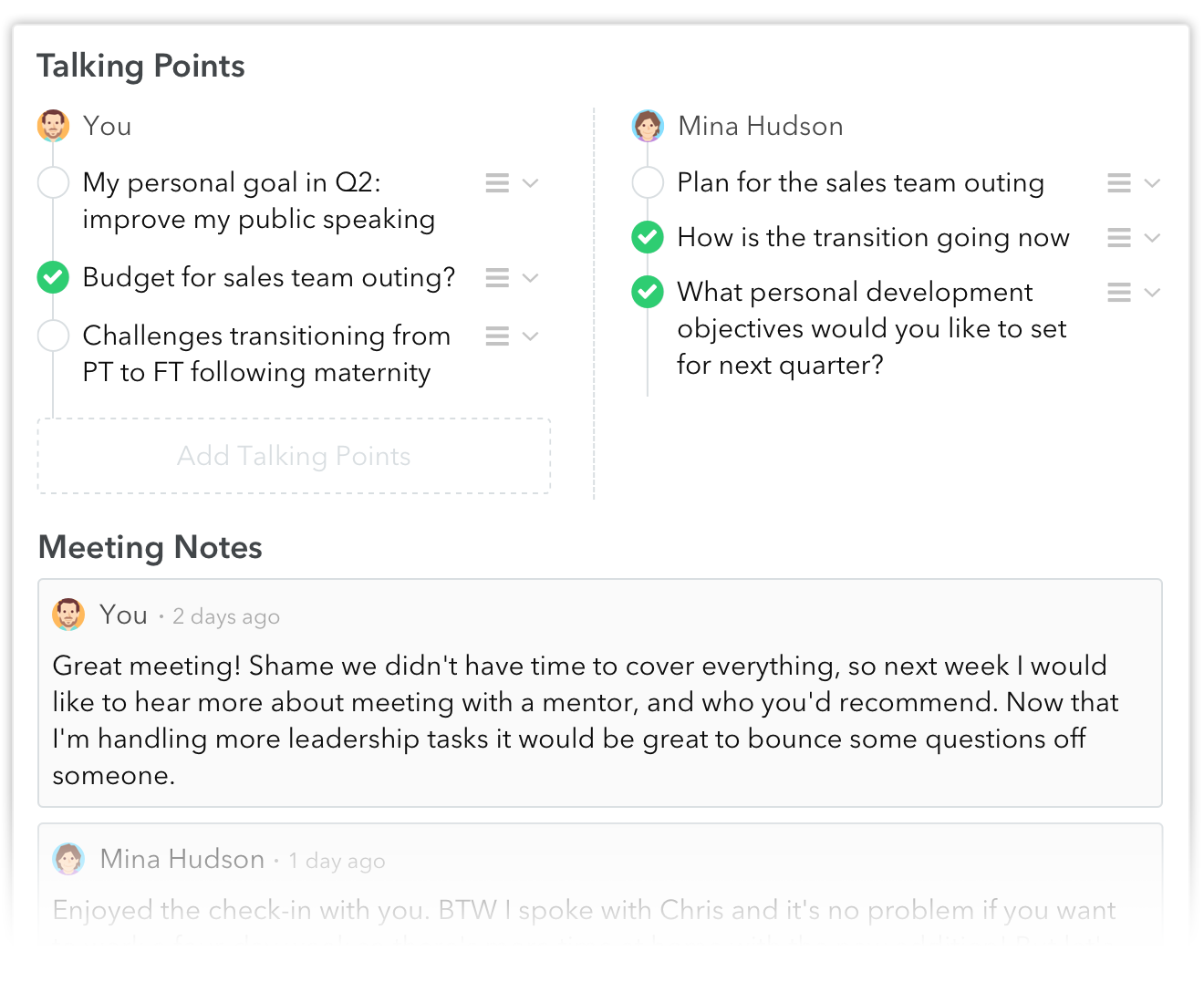 1 on 1 meetings: Taling Points and Notes