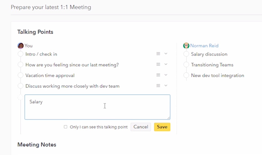 building the 1 1 meeting notes small improvements