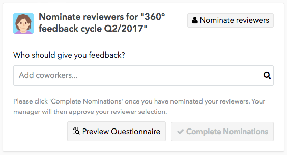A preview of the feedback questionnaire as part of the 360 Feedback tool