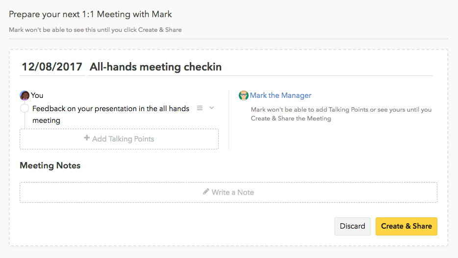 Name and Filter One-on-One Meetings