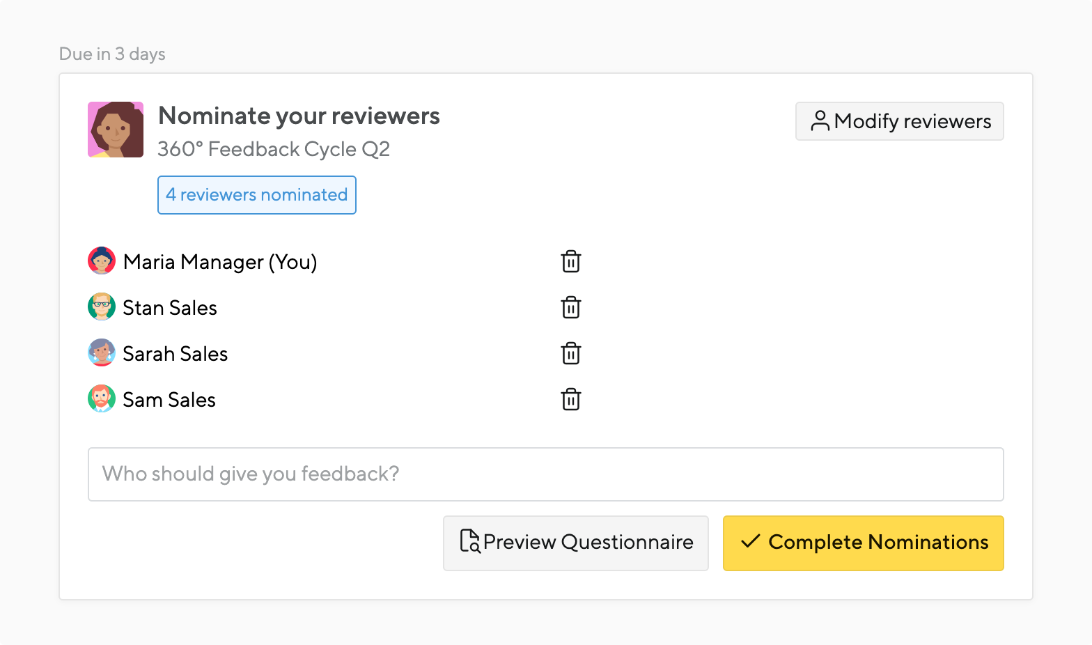 reviewer nominations in a 360 feedback process