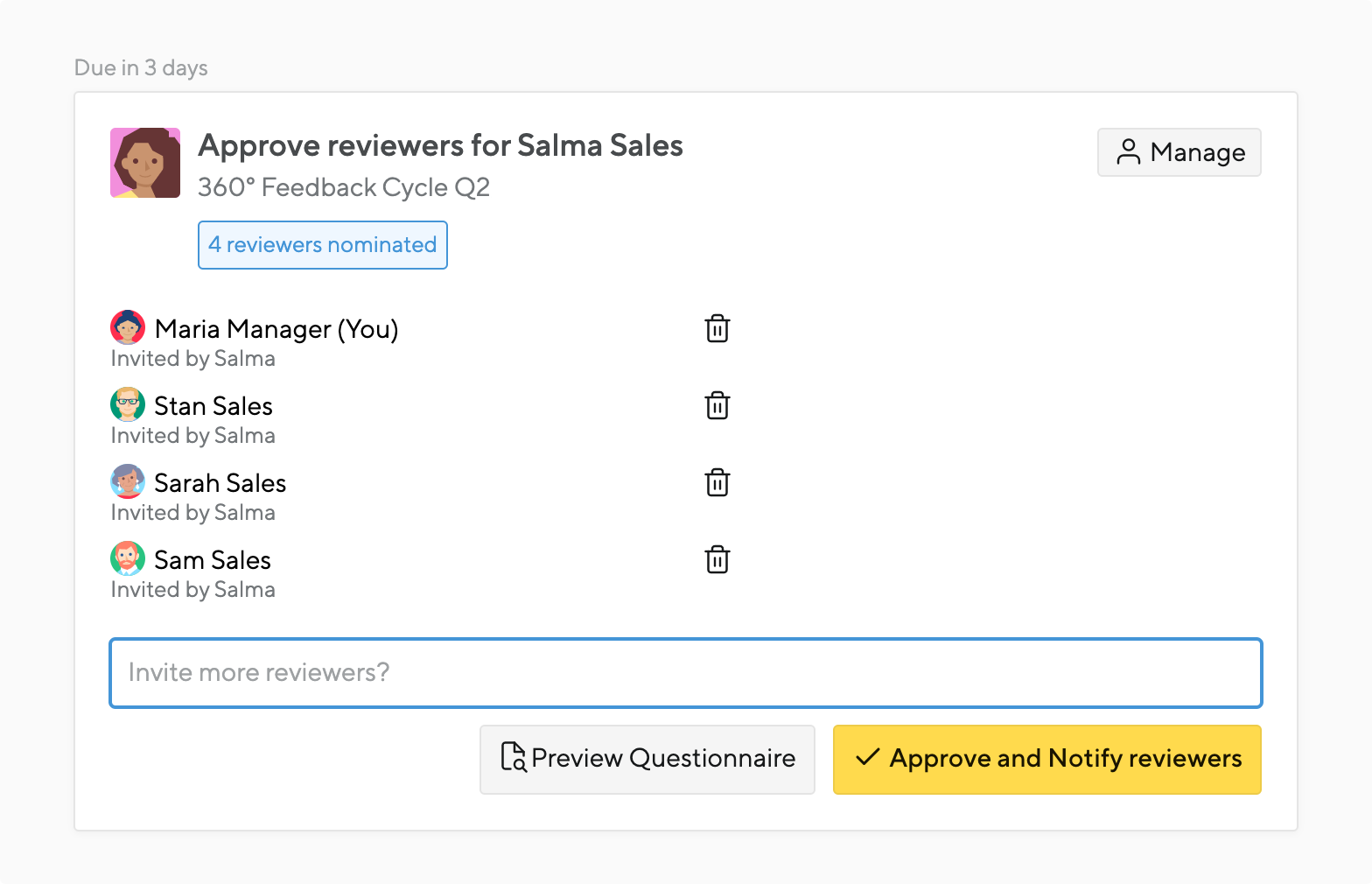 approval phase in a 360 degree review