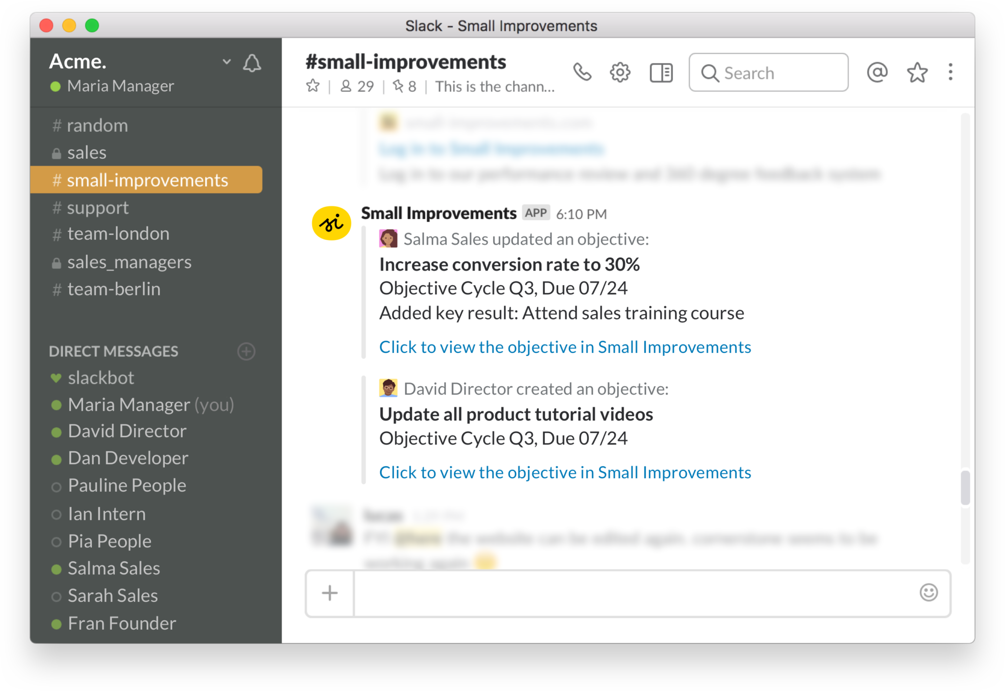 Our Slack integration promotes Objective sharing company-wide