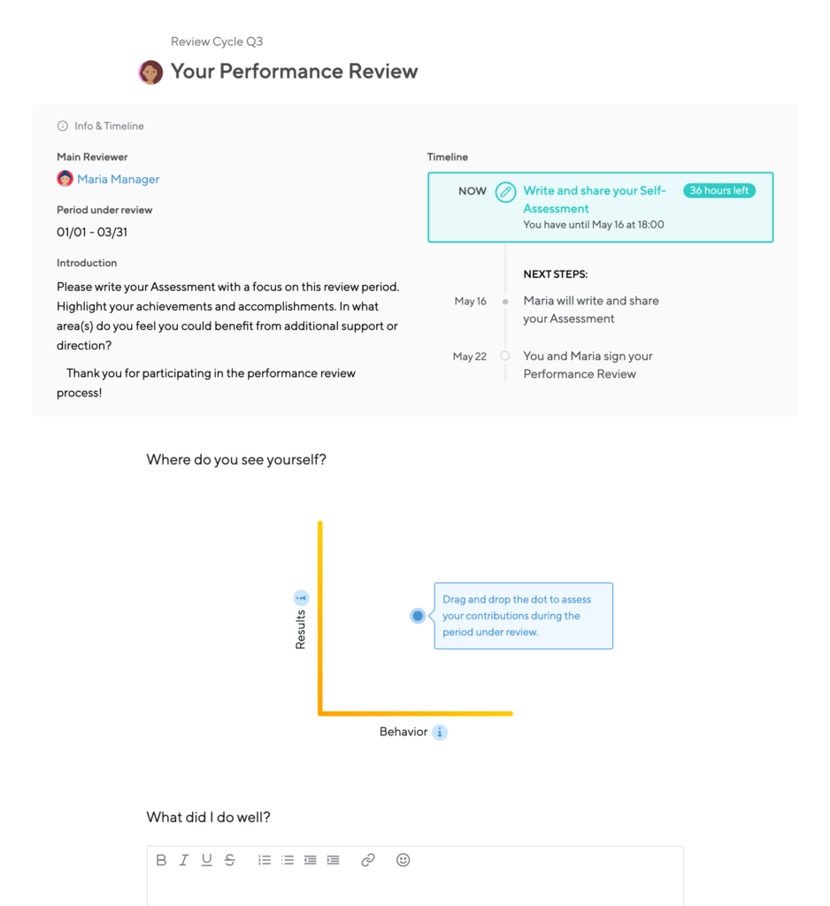 Small Improvements screenshot shows the info & timeline of a performance review as well as the performance review form with a rating graph